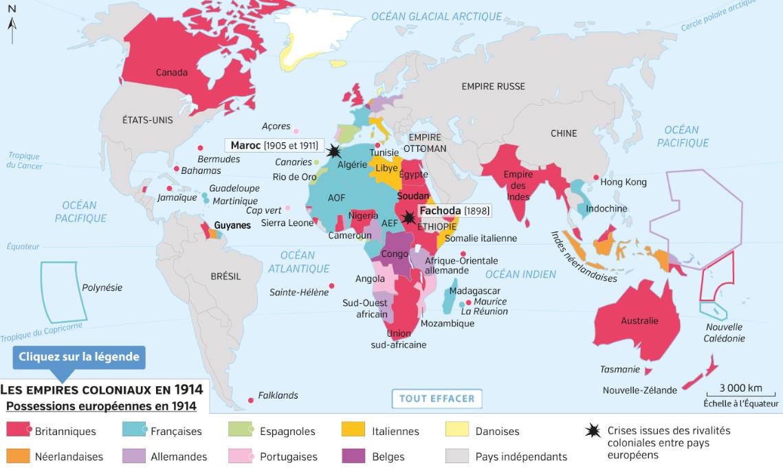 Quelles sont les autres puissances européennes qui possèdent des colonies en 1914 ?