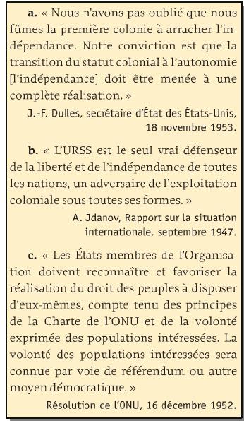 Quelle est la position de l'URSS, des Etats-Unis et de l'ONU sur la question de la décolonisation ?