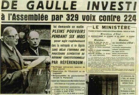 Qui prend le pouvoir en France à partir de 1958 ?