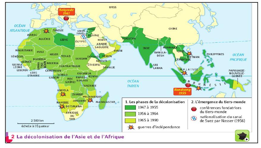 Dans quelles régions du monde, les colonies européennes obtiennent-elles leur indépendance entre 1947 et 1955 ?
