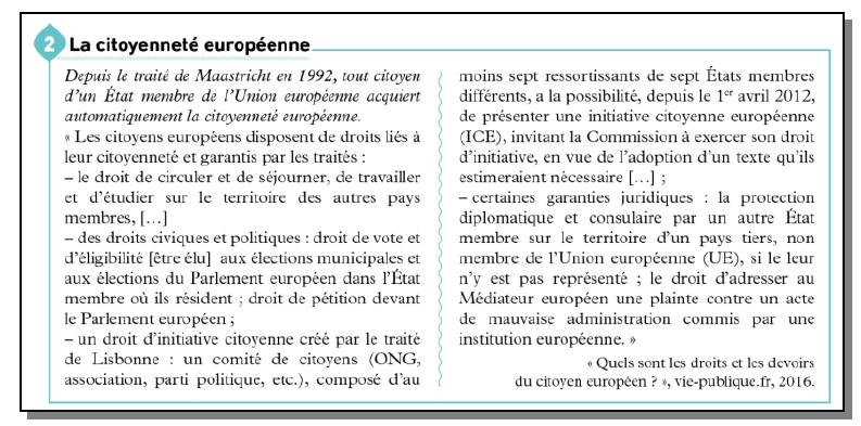 Quel traité a créé la citoyenneté européenne ?