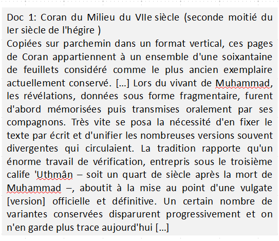 Qui a ordonné la mise par écrit des textes religieux de l'islam ?