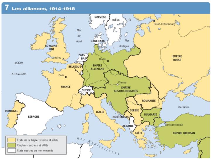 Quels sont les pays membres des puissances centrales ?