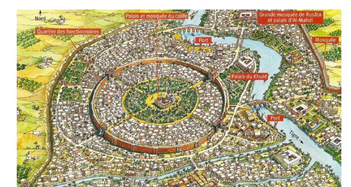 Quels bâtiments indiquent que les villes comme Bagdad appartiennent à la civilisation musulmane ?