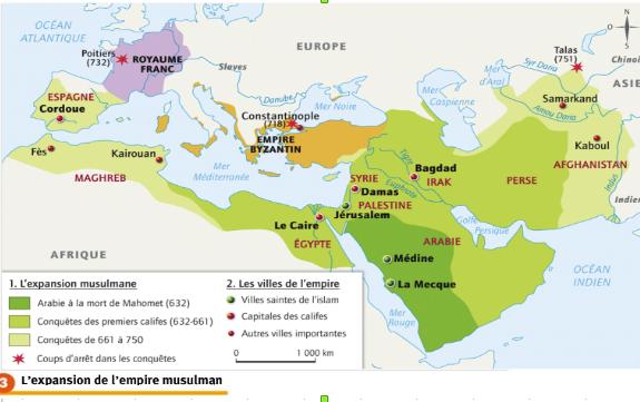 De quels territoires se sont emparés les Arabo-musulmans entre 632 et 750 ?