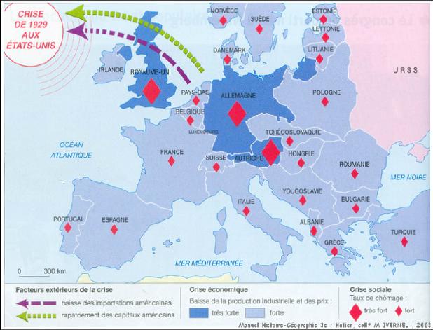 Quel événement provoque une crise économique et sociale en France au début des années 1930 ?